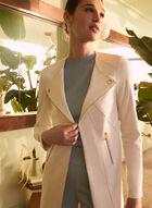 Vex - Blazer long en faux cuir suédé, Blanc cassé