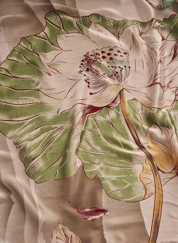Foulard léger à motif floral , Vert,  printemps été 2021, accessoires, foulard, motif floral, oblong
