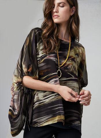 Compli K - Feather Print Poncho Blouse, Black, hi-res,  chiffon, boat neck, poncho, fall 2019, winter 2019