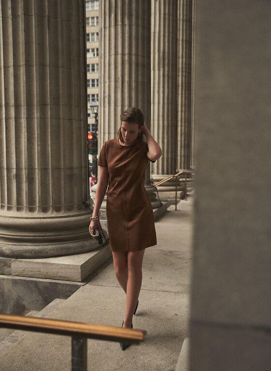 Joseph Ribkoff - Faux Suede Dress, Brown