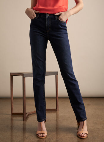 Olivia Straight Leg Jeans , Blue,  jeans, Olivia, straight leg, 5 pockets, recycled, fall winter 2019