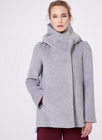 Novelti - Manteau en laine mélangée et col large, , hi-res