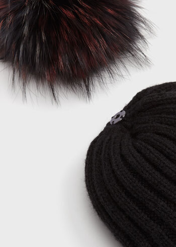 Fur Pompom Knit Hat, Black, hi-res