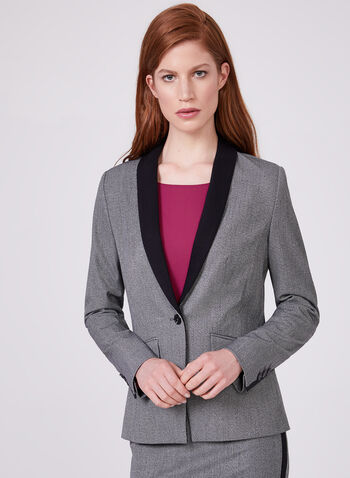 Two Tone One Button Blazer, Black, hi-res