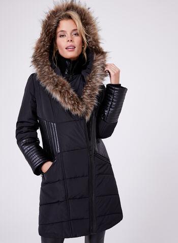 Northside - Manteau matelassé avec détails en similicuir, Noir, hi-res