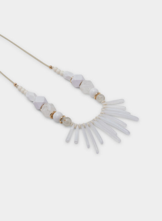 Collier long à plastron et billes, Blanc