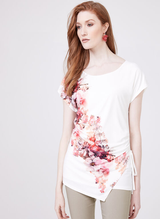Blouse en jersey avec motif floral placé, Blanc, hi-res