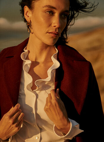 Joseph Ribkoff - Ruffle Collar Button Front Tunic, White,  fall 2021, joseph ribkoff, shirt, top, blouse, tunic, long, length, ruffle collar, long sleeves, button front, button down, closure, pleated, details, high low, hemline, hem, cuffs, light, flowy, comfy