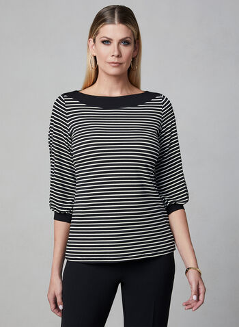 Stripe Print Balloon Sleeve Top, Black, hi-res