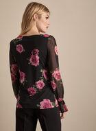 Floral Print Balloon Sleeve Top, Black