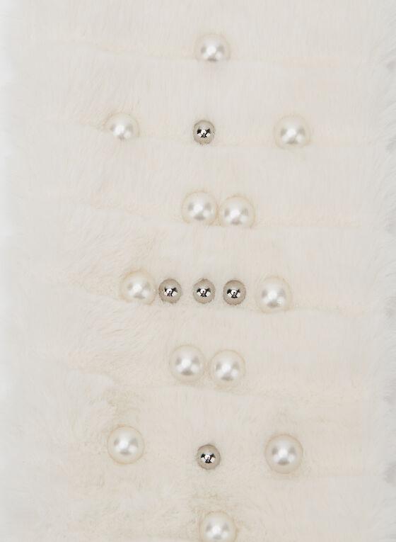 Pearl Detail Faux Fur Scarf, Off White, hi-res
