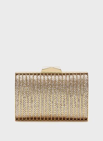 Minaudière cage dorée scintillante, Or, hi-res