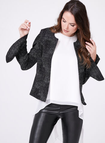 Lurex Weave Cropped Blazer , Grey, hi-res