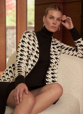 Colour Block Houndstooth Cardigan, Black,  fall winter 2020, cardigan, open, sweater, colour block, color block, contrast, houndstooth, cozy, comfort, stretch, warm, long sleeve