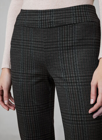 Plaid Print Slim Leg Pants, Black,  Canada, pants, slim leg, plaid, pull on, elastic waist, Ponte de Roma, fall 2019, winter 2019