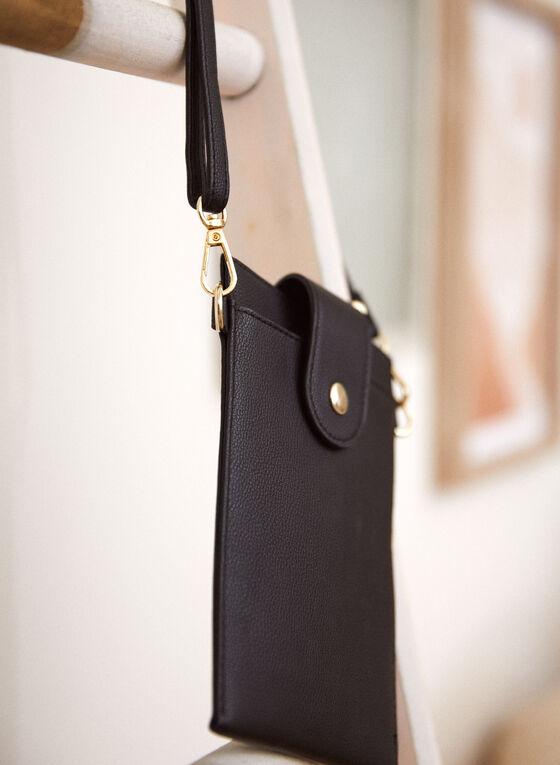 Tab Closure Cellphone Bag, Black