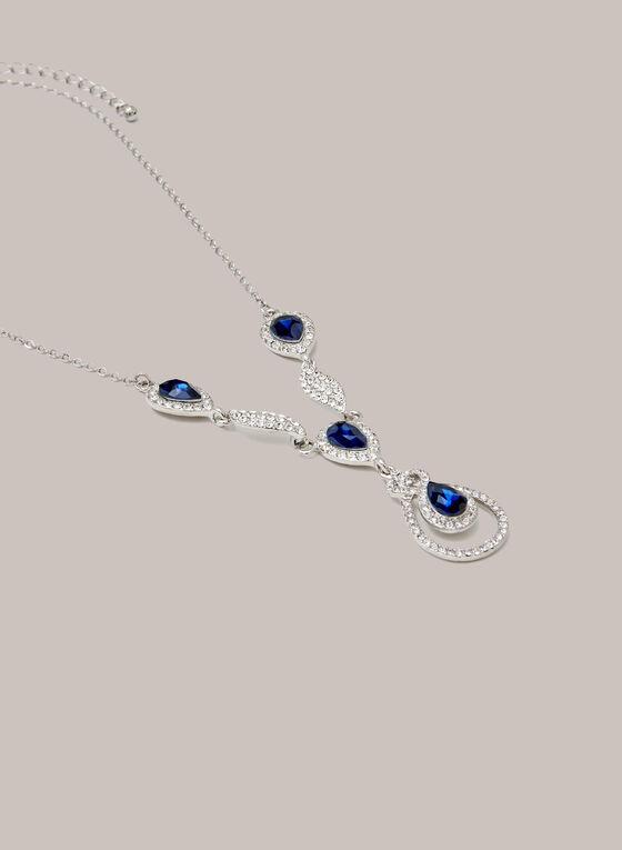 Collier en Y à pierres et cristaux, Bleu