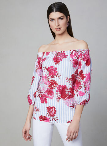 Linea Domani - Off-The-Shoulder Blouse, Red, hi-res,  Spring 2019, floral print, cotton
