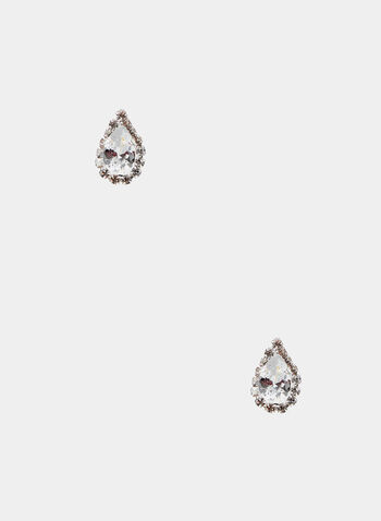 Teardrop Crystal Stud Earrings, Silver,  stud, earrings, crystal, faceted, teardrop, spring summer 2020