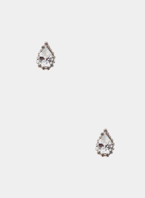 Teardrop Crystal Stud Earrings, Silver