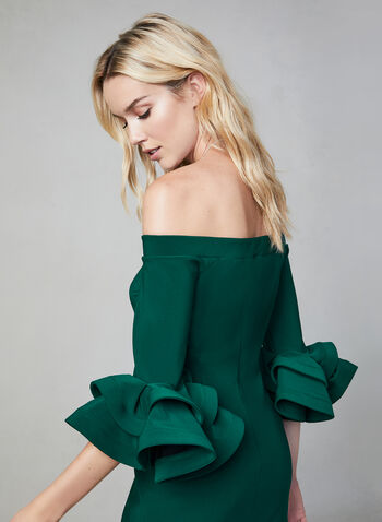 Joseph Ribkoff - Large Ruffle Sleeves Dress, Green, hi-res,  off-the-shoulder, ruffle sleeves, elastic neckline, fall 2019, winter 2019