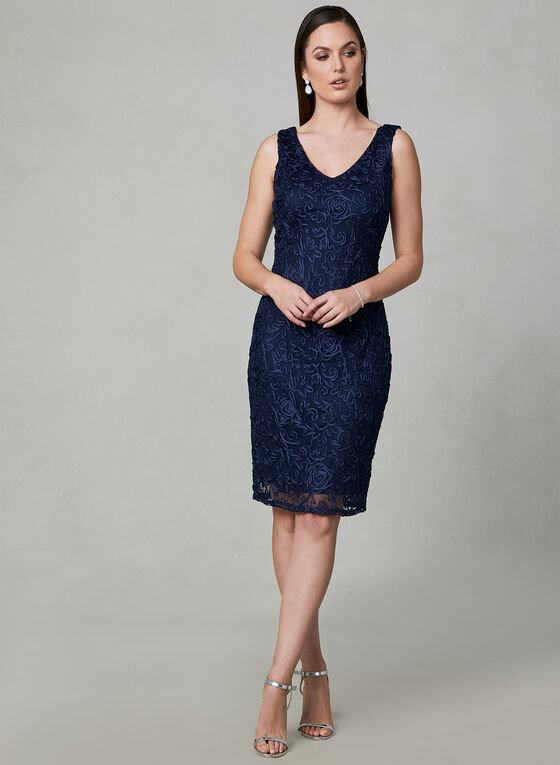 Marina - Embroidered Mesh Dress, Blue, hi-res