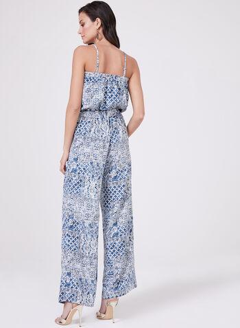 Aztek Print Blouson Jumpsuit, Blue, hi-res