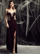 Cachet - Open Back Embroidered Gown, Purple, hi-res