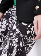 Pull-On Leaf Print Capris, Black, hi-res