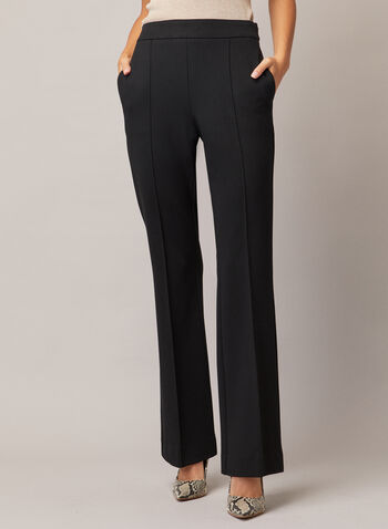 Flare Leg Pants, Black,  pants, flared, pleats, stitches, fall winter 2020