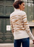 Zebra Print Mock Neck Sweater, Off White