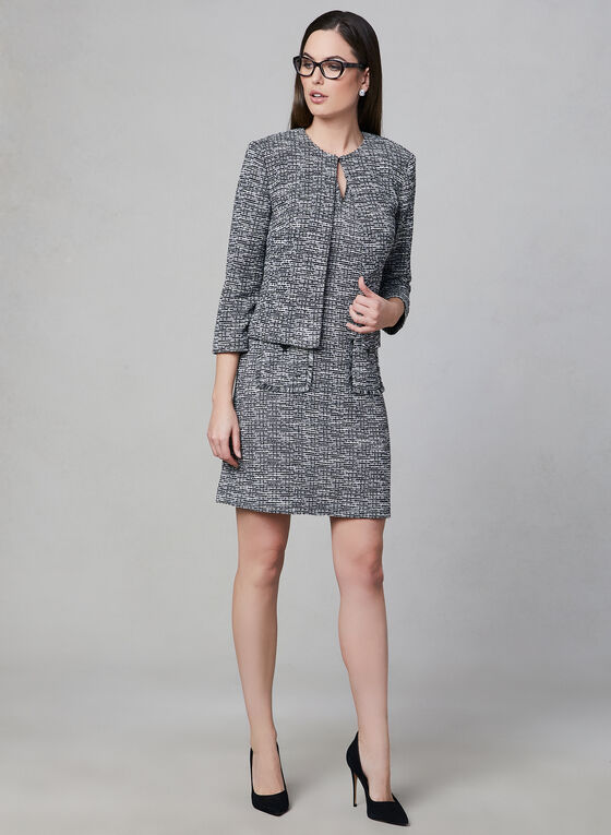 Karl Lagerfeld Paris - Robe en tweed à poches, Noir