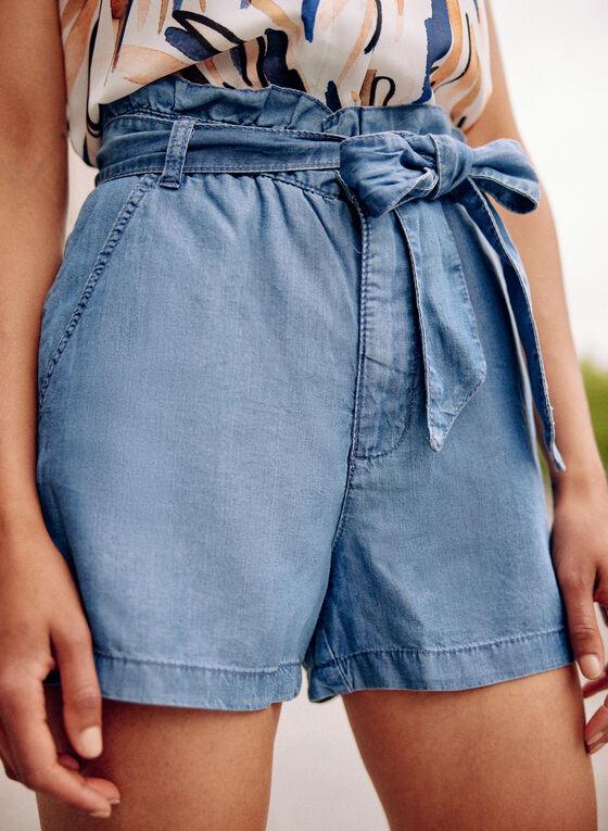 Paperbag Fluid Denim Shorts, Blue