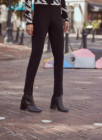 Studded Hem Flare Leg Pants, Black,  fall 2021, pants, flare leg, straight leg, made in canada, online exclusive, mid rise, relaxed, fit, cut, faux welt pockets, front hem, split hem, stud details, studded hem