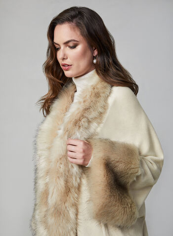 Joseph Ribkoff - Faux Fur Cape, Off White, hi-res,  Joseph Ribkoff, cape, faux fur, fall 2019, winter 2019