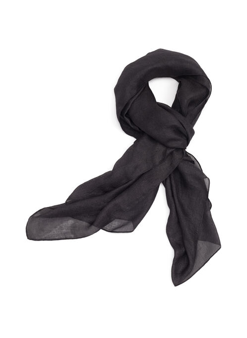Silk Like Pashmina Scarf , Black, hi-res