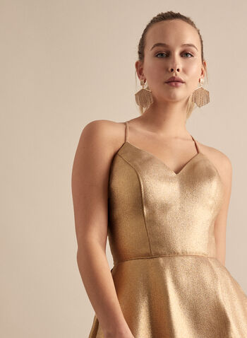 Cachet - Metallic Glitter Dress, Gold,  dress, prom dress, gown, metallic, golden, sleeveless, spaghetti straps, pockets, a-line, high slit, floor length, train, v-neck, spring summer 2020