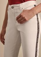 Aztec Print Side Slim Leg Jeans, White