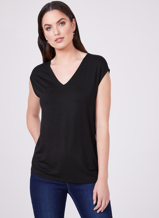 Drop Shoulder Top, Black, hi-res