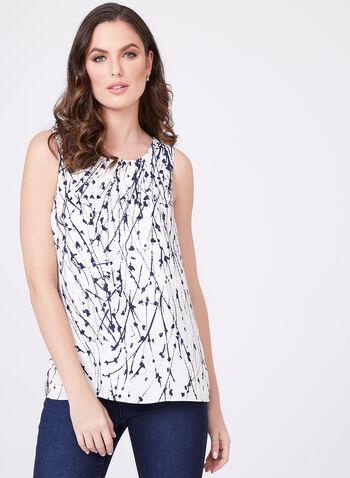 Abstract Print Crepe Camisole, White, hi-res