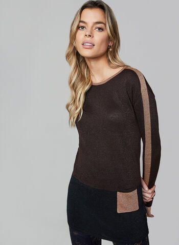 Metallic Knit Tunic, Brown, hi-res,  knit, Lurex, long sleeves, colour block, fall 2019, winter 2019