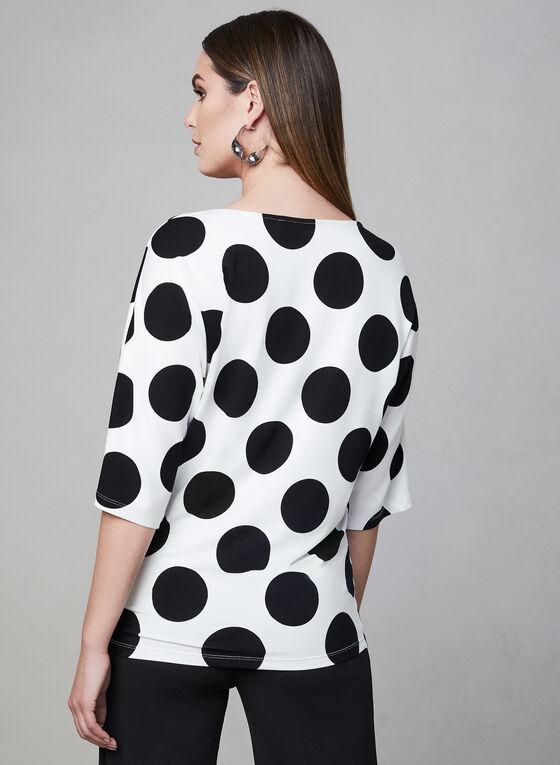 Polka Dot Print Top, White, hi-res