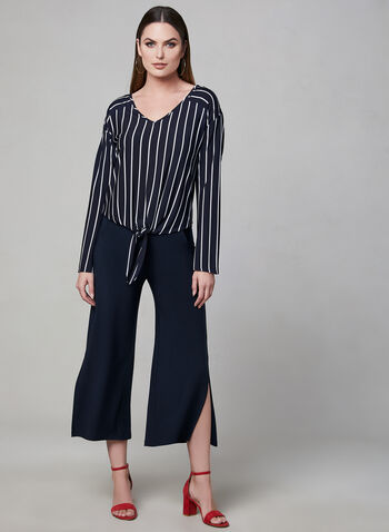 Pantalon à jambe large fendue, Bleu,  printemps 2019, jupe-culotte, jersey, pull-on