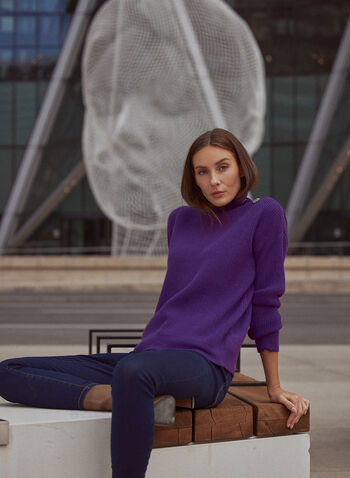 Button Detail Mock Neck Sweater, Purple,  sweater, button details, ribbed knit, long sleeves, fall winter 2020