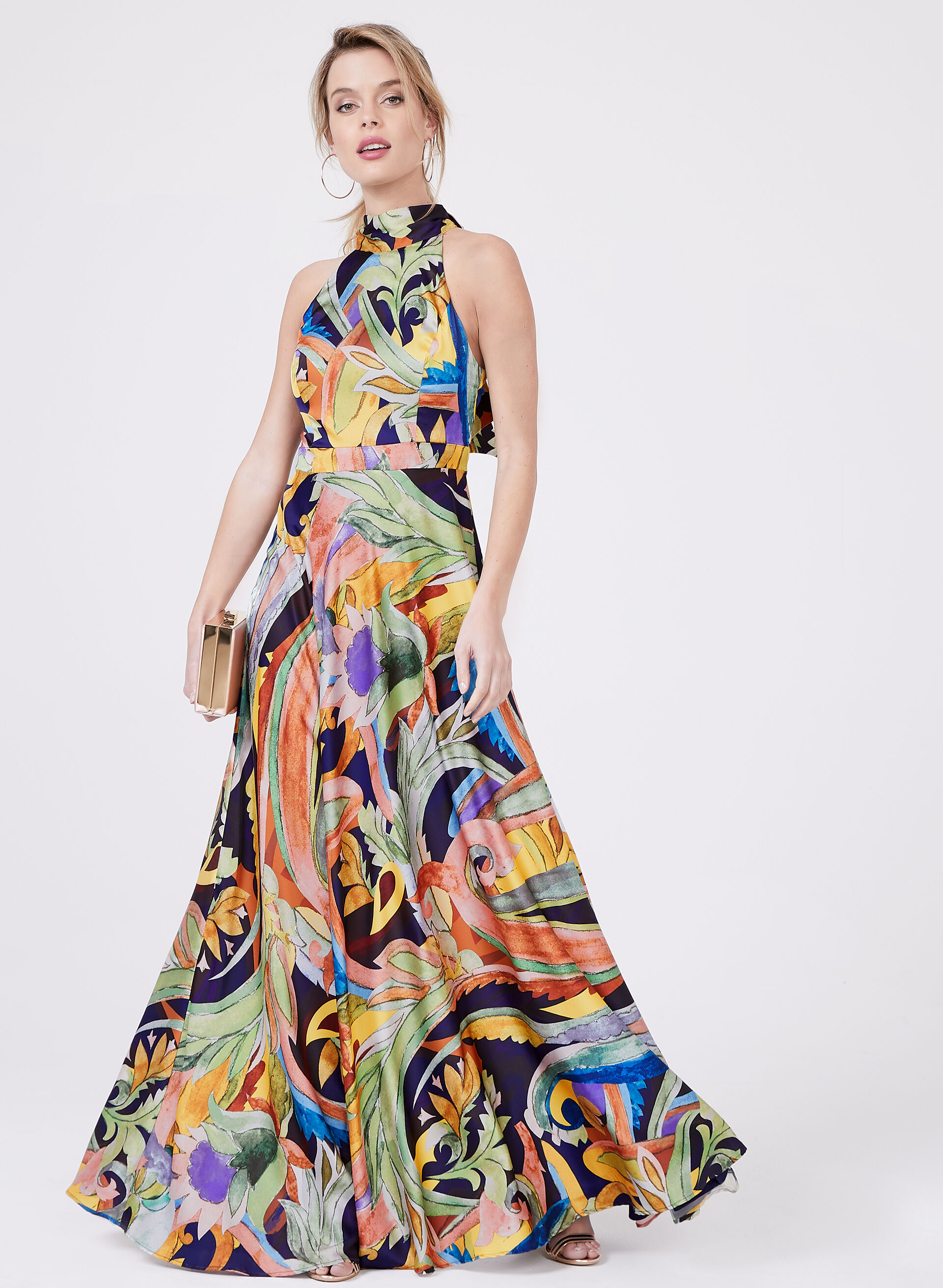 ... Nicole Miller - Abstract Print Halter Maxi Dress, Multi, hi-res. best  seller