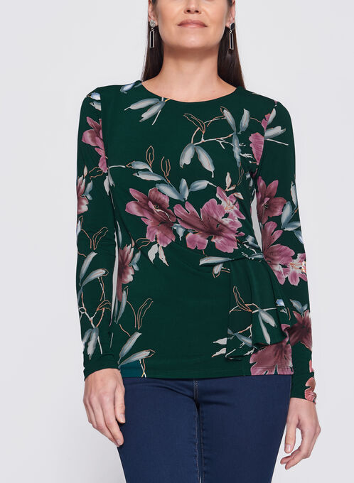 Floral Print Side Tuck Jersey Blouse, Green, hi-res