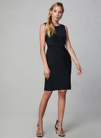 Adrianna Papell - Sleeveless Sheath Dress, Black, hi-res,  sheath dress, knit, sleeveless, fall 2019, winter 2019