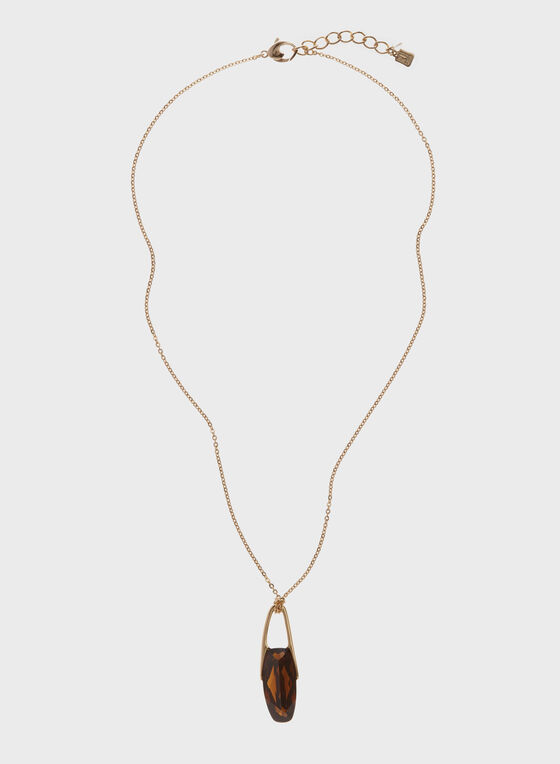 Robert Lee Morris - Geometric Stone Pendant Necklace , Brown, hi-res