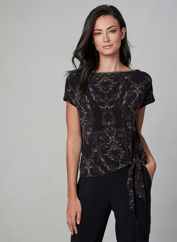 Scroll Print Jersey Top, Black, hi-res,  baroque style, short sleeve top, blouse