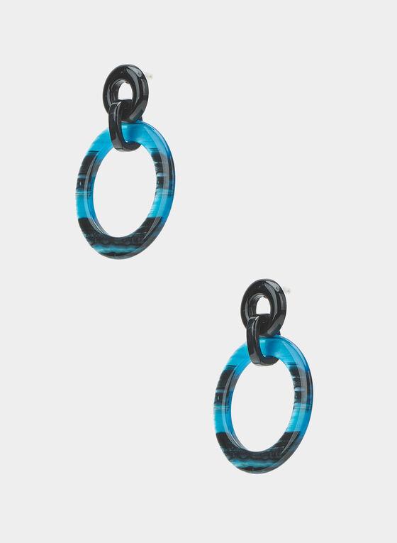 Boucles d'oreilles anneaux deux tons, Bleu